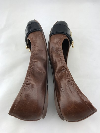Tory Burch Noel Ballet Buckle Leather Cap Toe Brown Flats Image 8