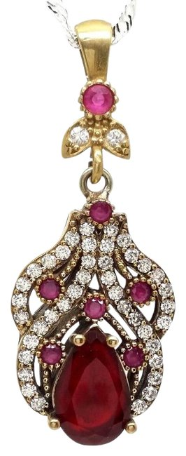 Item - Red White Statement Ruby Zircon 925 Sterling Silver Pendant Necklace