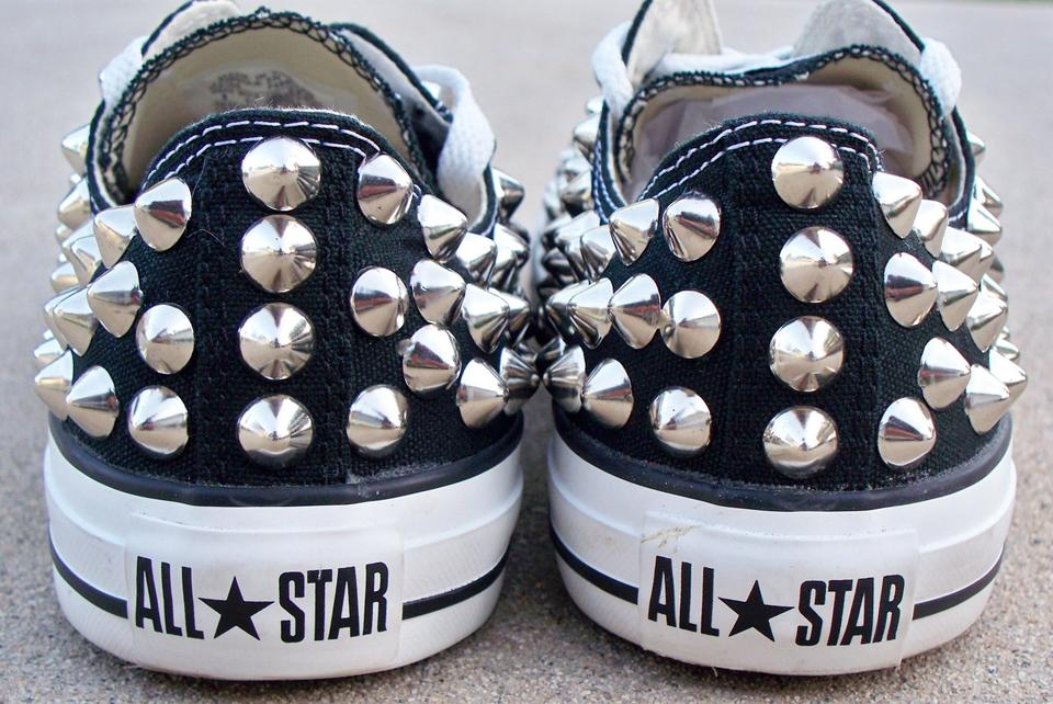 cc1051dacf8 Converse All Star Low Top Studded Spiked Black Athletic Image 5. 123456