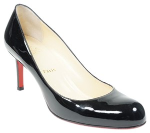 Christian Louboutin Simple 70mm 39 Patent Leather Round Toe Black Pumps