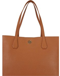 Tory Burch Beige Leather Gold Hardware Perry Tote in Bark/light gold