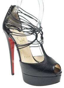 Christian Louboutin Confusalta 35.5 T-strap Peep Toe Strappy Black Pumps