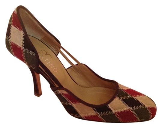 Valentino Suede Harlequin Pattern Vintage Made In Italy Beige/multi Pumps