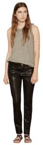 Current/Elliott Soft Leather Straight Leg Jeans-Dark Rinse