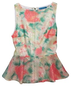 Alice + Olivia Sequin Peplum Printed Top Pink