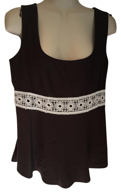 Preload https://img-static.tradesy.com/item/21149239/ann-taylor-loft-brown-almost-new-tank-topcami-size-6-s-0-1-650-650.jpg