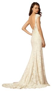 Eddy K Light Gold / Ivory Lace Amalia Gown From Bhldn Modest Wedding Dress Size 10 (M)