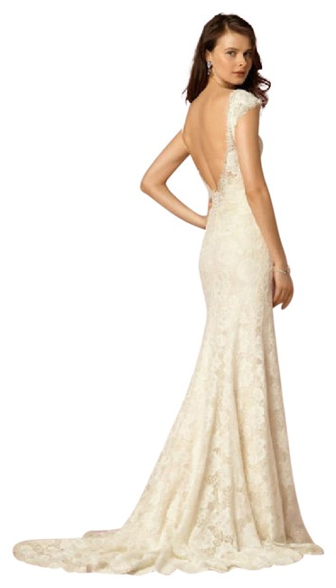 Item - Light Gold / Ivory Lace Amalia Gown From Bhldn Modest Wedding Dress Size 10 (M)