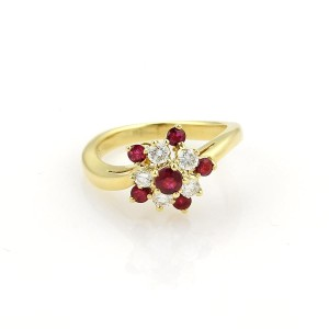 Tiffany & Co. Diamonds & Ruby 18k Yellow Gold Floral Cluster Ring Size 4.25