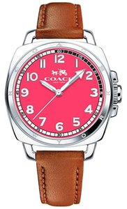 Coach Coach Boyfriend Russet Brown Leather Strap Pink Dial Womens Watch 14502156