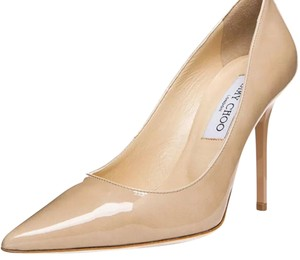 Jimmy Choo Patent Leather Pointed Toe Stiletto Nude Pumps