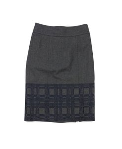 Magaschoni Grey & Navy Embroidered Hem Pencil Skirt