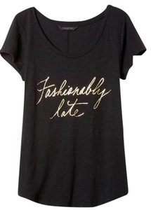 Banana Republic Scoop Neck Graphic Tee And Gold Short Sleeves Cotton/modal T Shirt Black