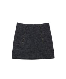 Vince Grey Herringbone Print Mini Zip Skirt