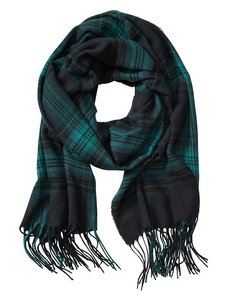 Banana Republic Dark Green Plaid Scarf