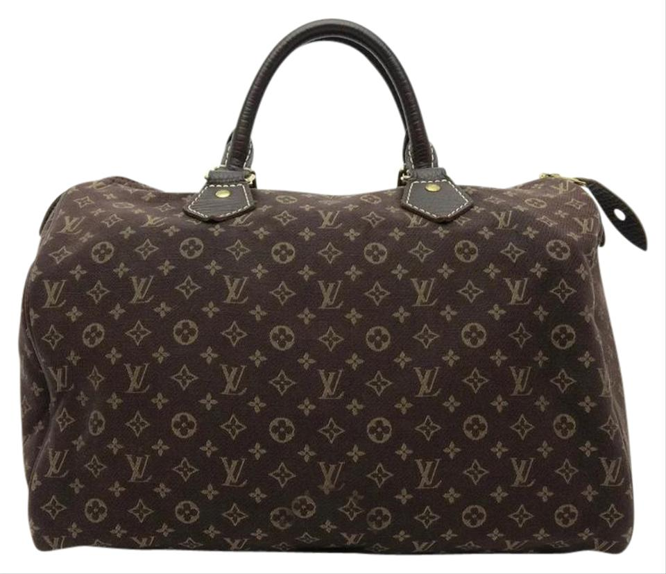 5c0f4977ef08 Louis Vuitton Speedy 30 Mini Lin Monogram Handbag Brown Canvas Satchel
