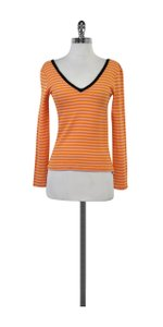 Sonia Rykiel Orange Pink Striped Wool Sweater