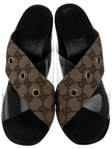 Gucci Gg Crisscross Strap Pvc Monogram Black, Brown Sandals