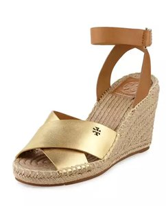 Tory Burch Espadrille Summer Wedge Metallic Gold and Royal Tan Sandals