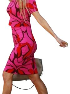 Alexander McQueen ( Check Matching Color Silk Top From Armani ) Mini Skirt hot pink
