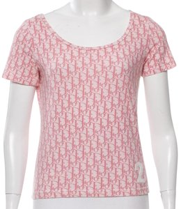 Dior Monogram Logo Diorissimo Cotton Shortsleeve T Shirt Pink, White