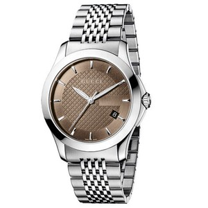 Gucci Gucci-YA126406-G-Timeless-Brown-Dail-Stainless-Steel-Mens-Watch