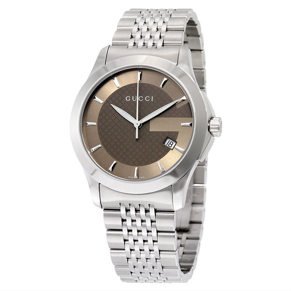 Gucci g timeless brown dial stainless steel authentic men