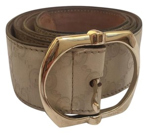 Gucci Gucci Signature Belt in Cream Guccissima Leather
