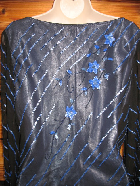 Scala Sequin Silk Butterfly Drape Floral Top Black Blue Image 6