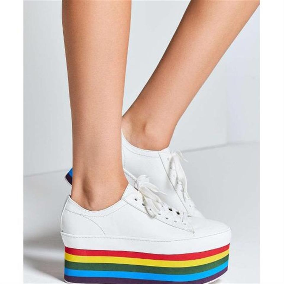 40b683f9928 Jeffrey Campbell White with A Rainbow Platform Sneaker Sneakers Size ...