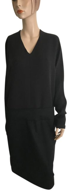 Item - Black Shift with Silk Crap Top and Cashmere Bottom. Mid-length Short Casual Dress Size 12 (L)