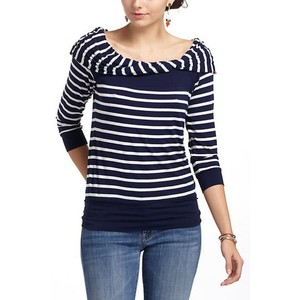 Anthropologie Striped Navy Bordeaux Draped Sweater
