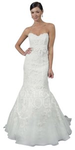 Modern Trousseau Ivory Lace Eve Gown Traditional Wedding Dress Size 2 (XS)