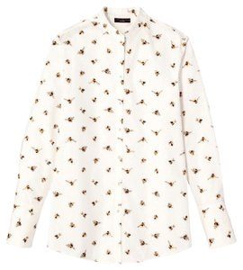 Victoria Beckham Bee Print Animal Print Whimsical Spring Button Down Shirt White