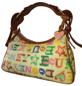 Dooney & Bourke Monogram Scribble Crayon Coated Canvas Slouchy Hobo Bag