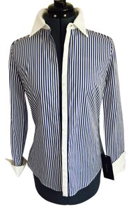 Zara Striped Shirt Button Down Shirt White, Blue