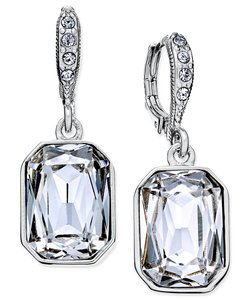 Givenchy Silver-Tone Square Crystal Drop Earrings