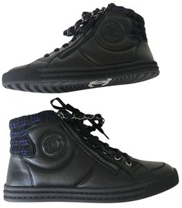Chanel Boots Booties Ankle Boots Sneaker Size 39 Navy Blue Black Athletic