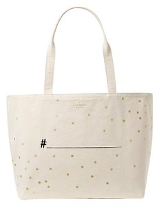 Kate Spade Canvas Hashtag Wedding Belles Tote in NATURAL / GOLD / BLACK