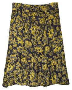 Vionie A-line Floral Pattern Silk Rose Skirt Gold Yellow Brown