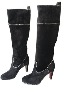 Christian Louboutin New Dark Gray/grey Watersnake Trim Louboutin Louboutin Heels Dark Gray/Charcoal Boots