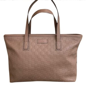 Gucci Leather Tote in Beige