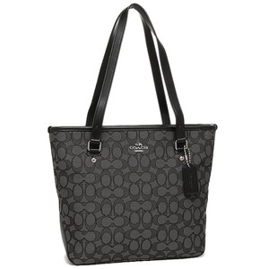 Coach Signature Smoke Black Leather Tote in BLACK SMOKE