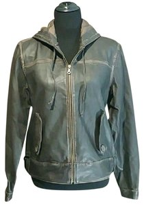 Old Navy Bomber Leather Distressed Brown Leather Jacket