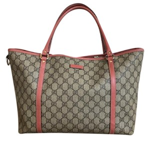 Gucci Canvas Pink Tote in Beige