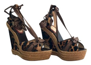 Christian Louboutin Limited Edition Animal Print Exclusive Fur Leopard Wedges