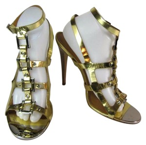 Tory Burch Gold Heels Tory Buckle Strappy Sandals