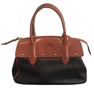 Dooney & Bourke Elegant Practical Spacious Cross Body Satchel in Black and light Brown