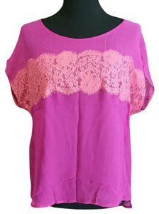 Bellatrix Sheer Silk Dolman Crop T Shirt pink and coral
