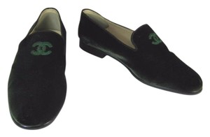 Chanel Green Cc Loafers Leather Flats